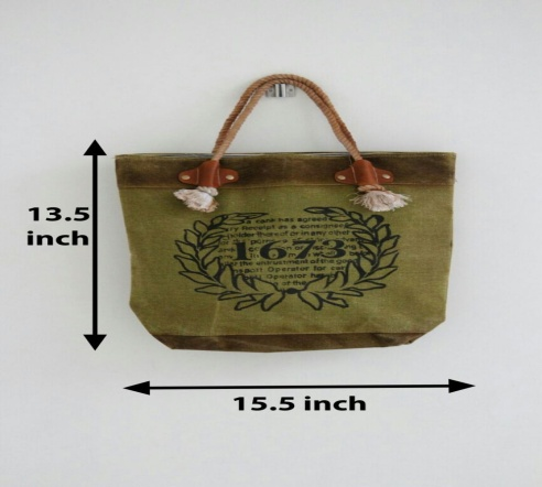 PH077 Canvas Mix Leather Tote Bag