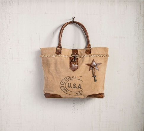 PH080 Canvas Mix Leather Tote Bag