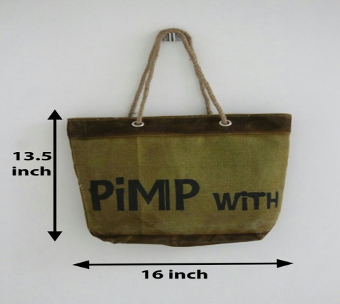 PH081 Canvas Mix Leather Tote Bag