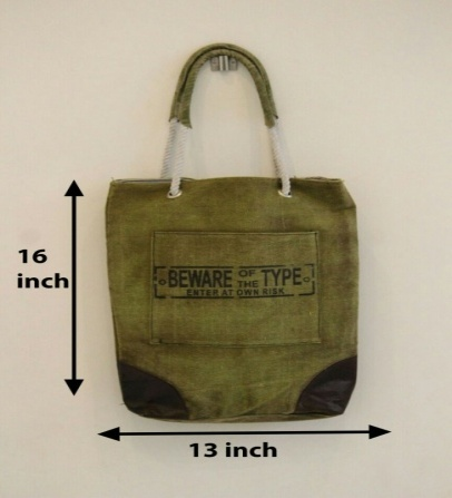 PH082 Canvas Mix Leather Tote Bag