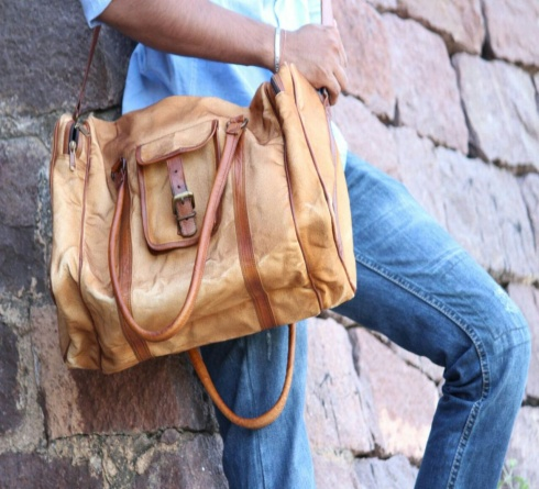 PH091 Canvas Mix Leather Duffle Bag