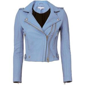 Ladies Sky Blue Fashion Leather Jackets