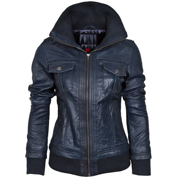 Ladies Navy Blue Fashion Leather Jackets