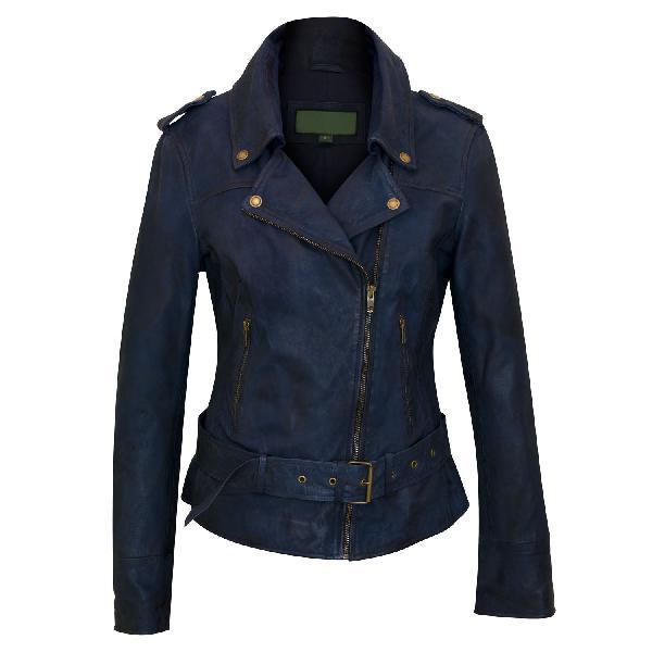 Ladies Royal Blue Fashion Leather Jackets