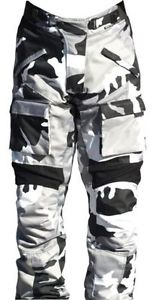 Mens Black & White Cordura Motorcycle Pant