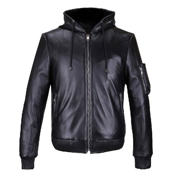Mens Hooded Black Leather Jackets
