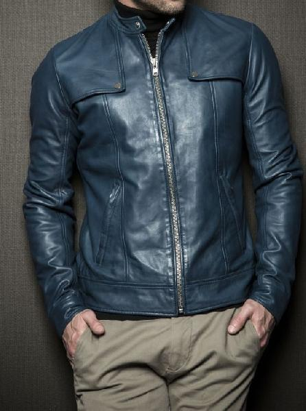 Mens Navy Blue Leather Jackets