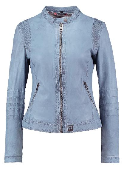 Ladies Sky Blue Leather Jackets