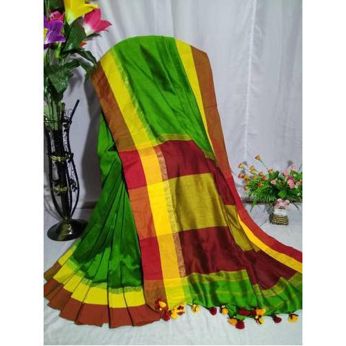 Green Khadi Cotton Sarees