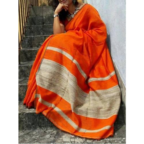 Orange Handloom Sarees