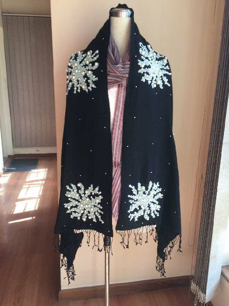 Black Embroidered Pashmina Shawls