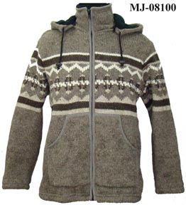 Mens Wool Hooded Jacket