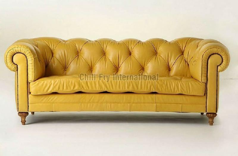 Leatherette Lawson cum Chesterfield Sofa