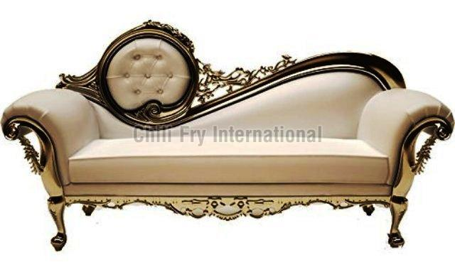 Chilifry Premium 3 Seating Love Seat, Sofa cum Couch made of Sheesham wood with Silver Deco