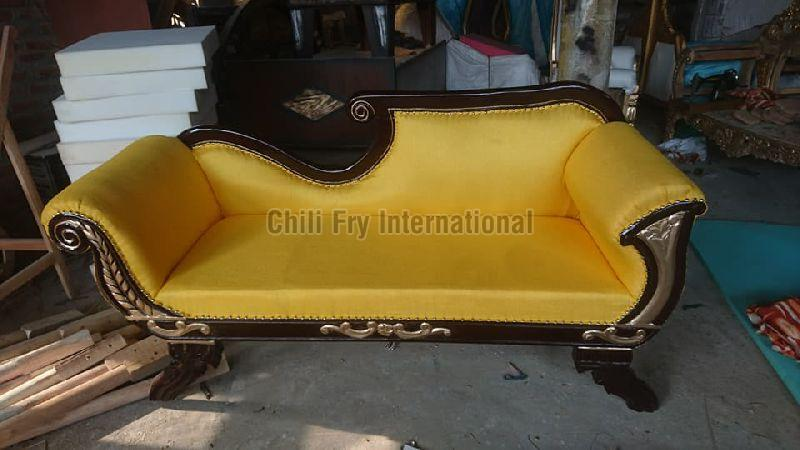 Sofa cum Couch in Walnut & Golden Deco