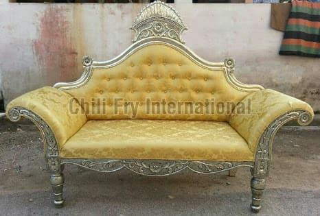 Silver crown headed fully carved antique sofa