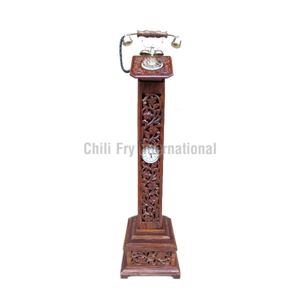 Wooden Pedestal Telephone