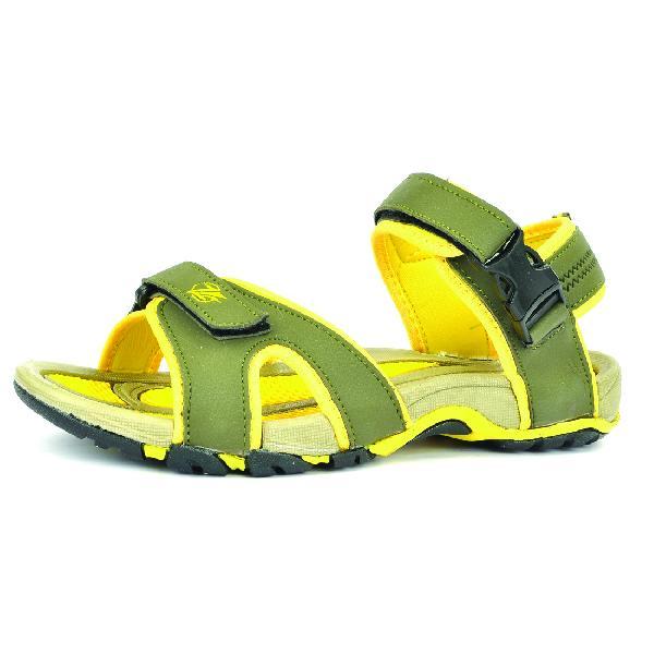 SDZ 116 Mens Mehndi & Yellow Sandals 01