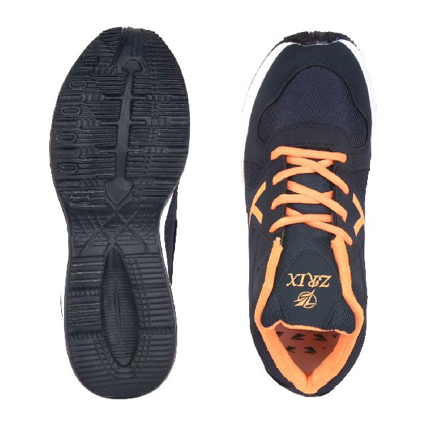 ZX-504 Navy Blue & Orange Shoes 04