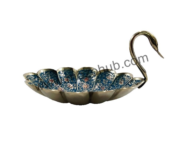 Sky Blue Brass Decorative Bowl