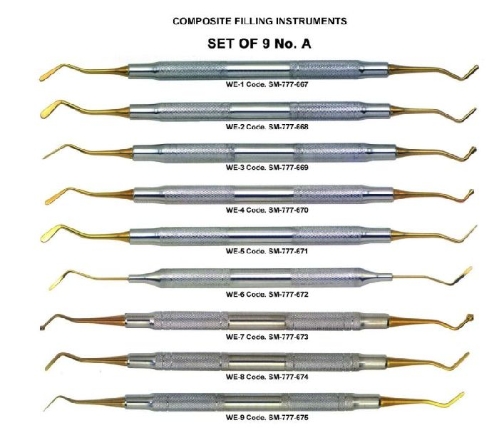 Set of 9 No. A Gold Plated Plastic Filling Instrument