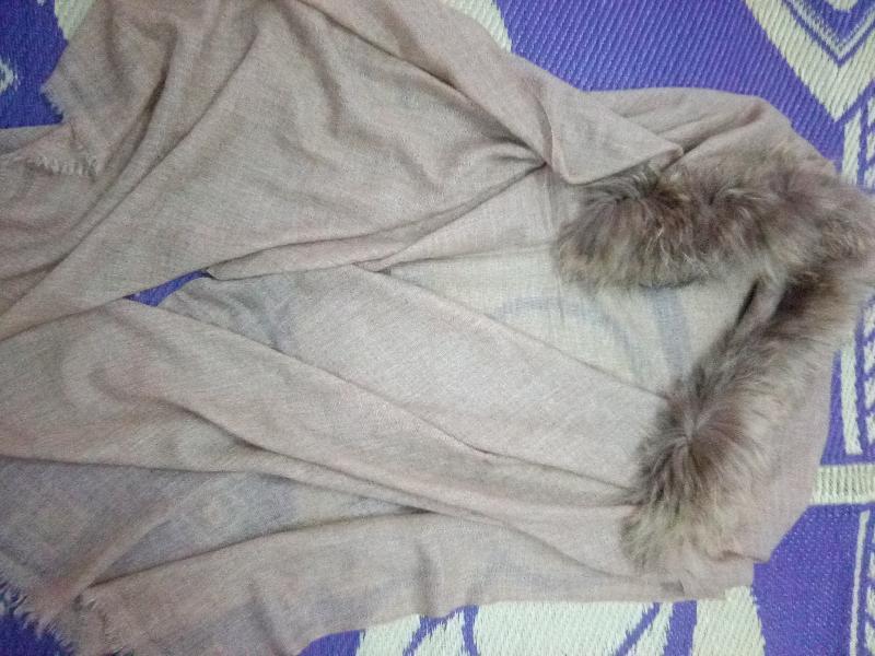 Thick Wool Pashmina Fur Collar Wrap Stoles