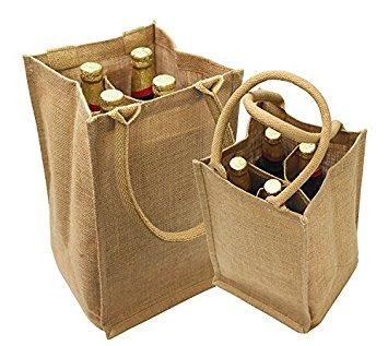 Jute Four Bottle Wine Bags