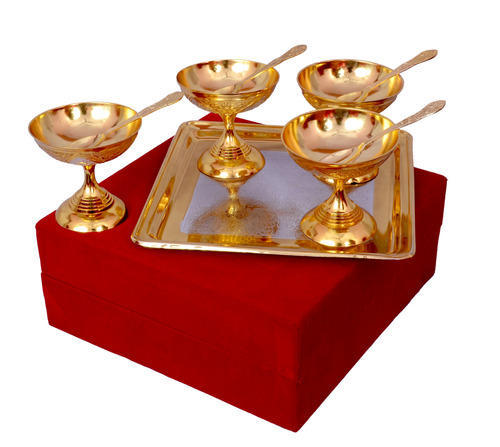 Brass Ice Cream Bowl Set
