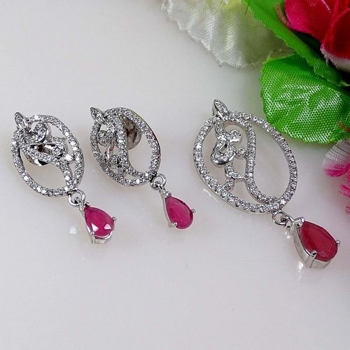 Silver Plated Diamond Earrings
