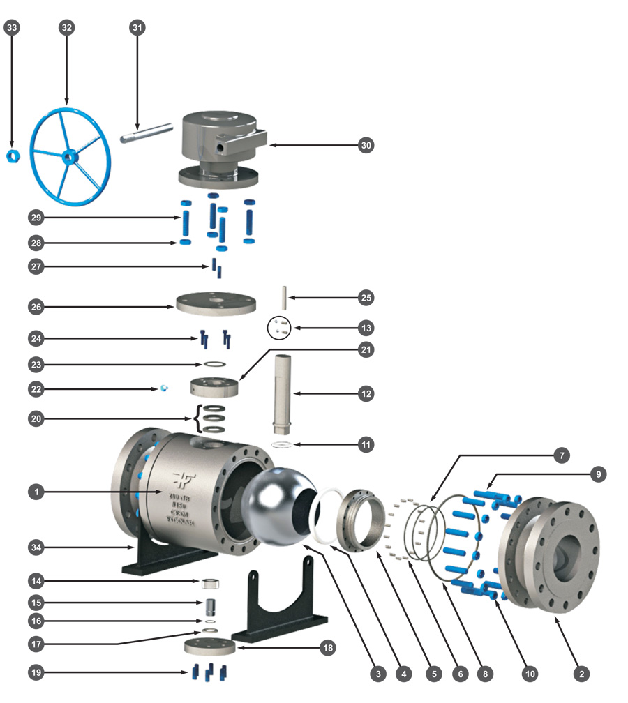 Two-Piece Trunnion Mounted Ball Valve Exploded View