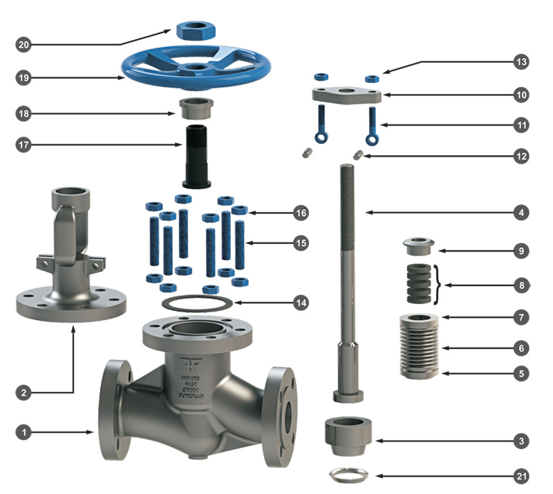 Bellow Seal Globe Valve Exploded View
