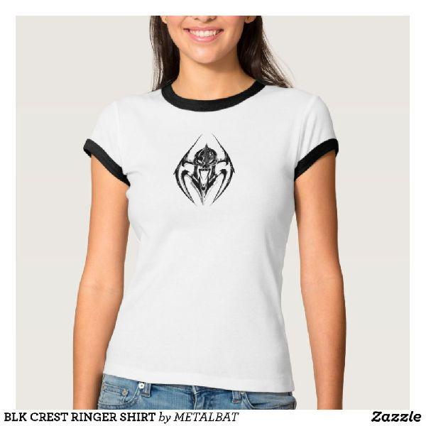 Ladies BLK Crest Ringer T-Shirts