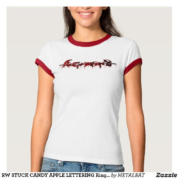 Ladies Stuck Candy Apple Lettering Ringer T-Shirts