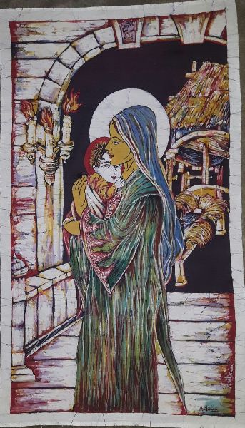 Mother Mary With Baby Jesus Painting 02