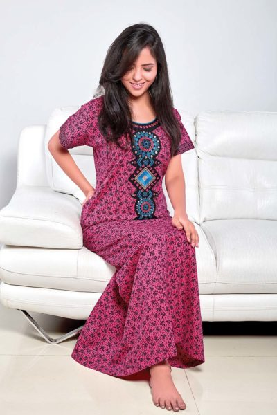 f96bda74a214f Wholesale Ladies Embroidered Nighty Supplier in Surat India