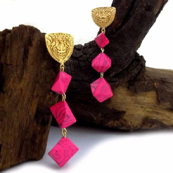 Gold Plated Stone Earrings 01