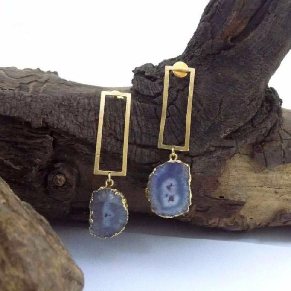 Gold Plated Stone Earrings 02