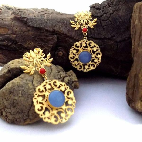 Gold Plated Stone Earrings 03