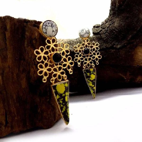 Gold Plated Stone Earrings 04