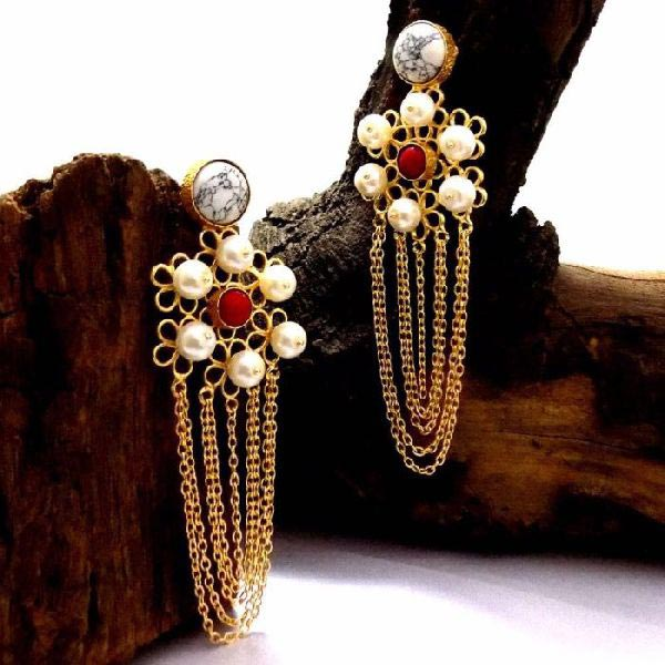 Gold Plated Stone Earrings 05