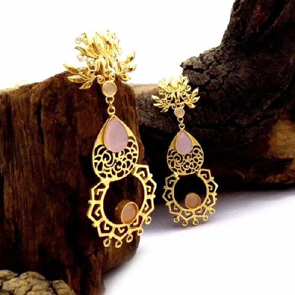Gold Plated Stone Earrings 06