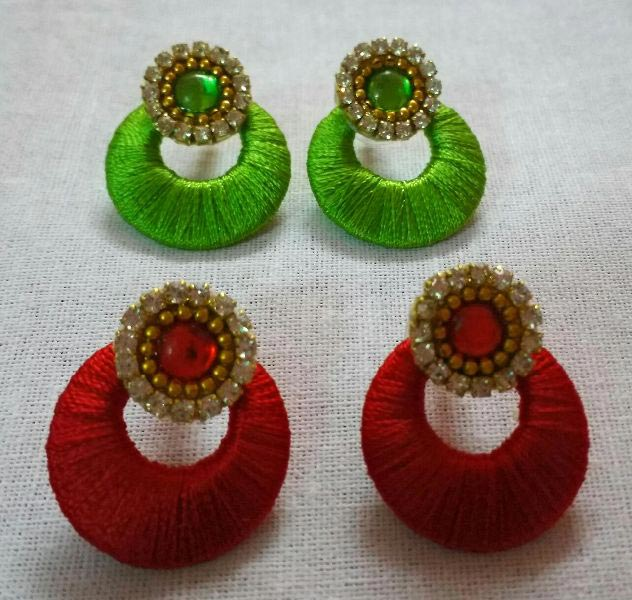 Silk Thread Earrings 06