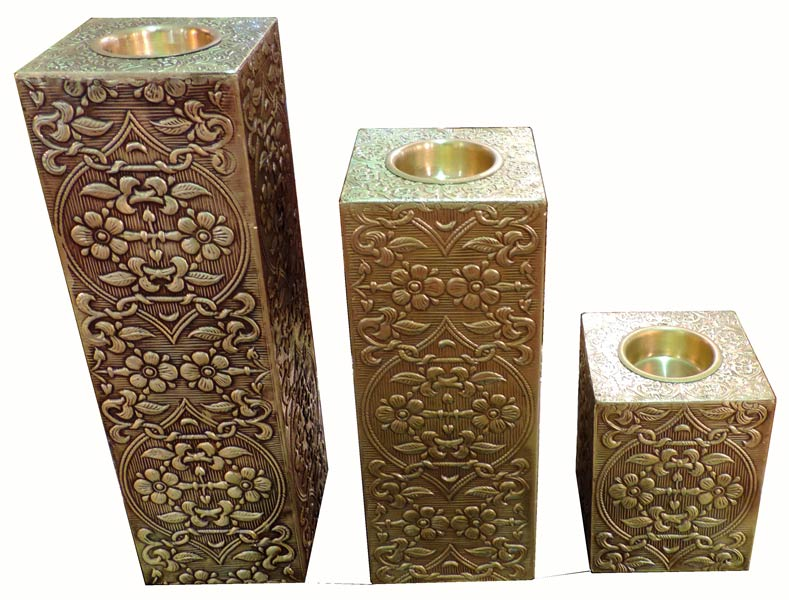 Wooden Brass Candle Stand Set