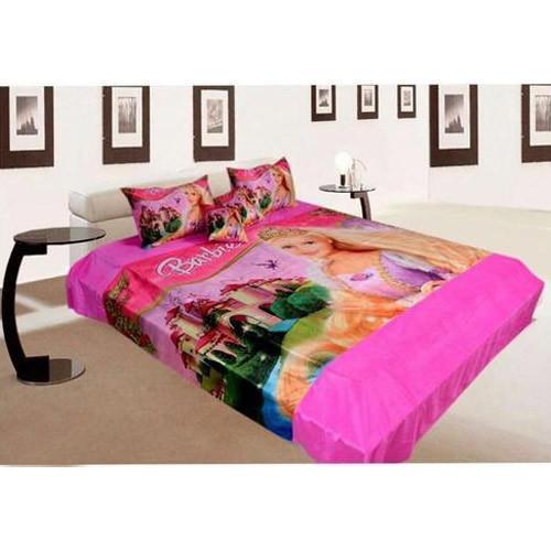Barbie Print Velvet Double Bed Sheet Set