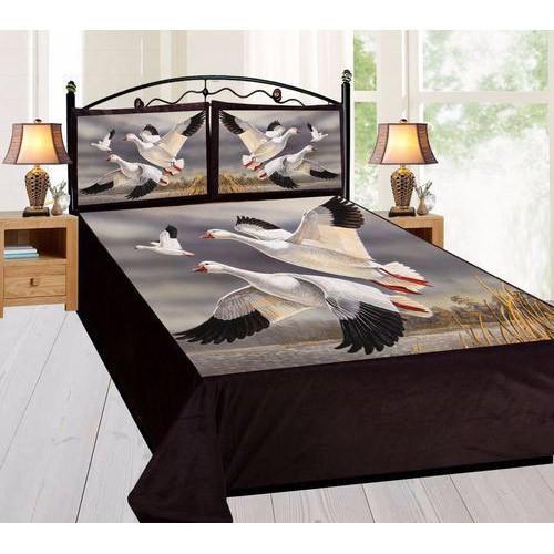 Bird Print Velvet Double Bed Sheet Set