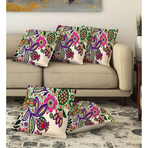 Floral Print Jute Cushion Cover 01