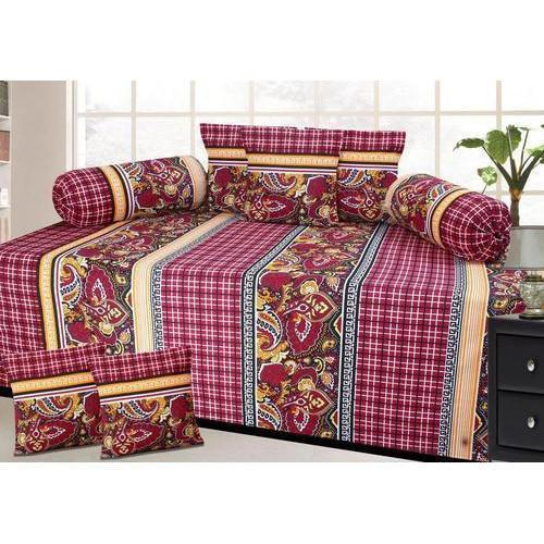 Designer Print Diwan Bed Sheet Set