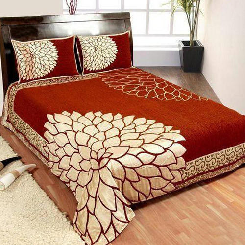 Flower Design Chenille Double Bed Sheet Set 01