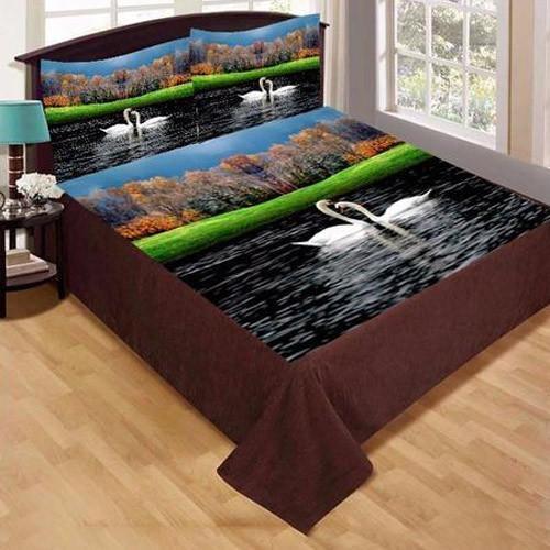 Swan Print Velvet Double Bed Sheet Set