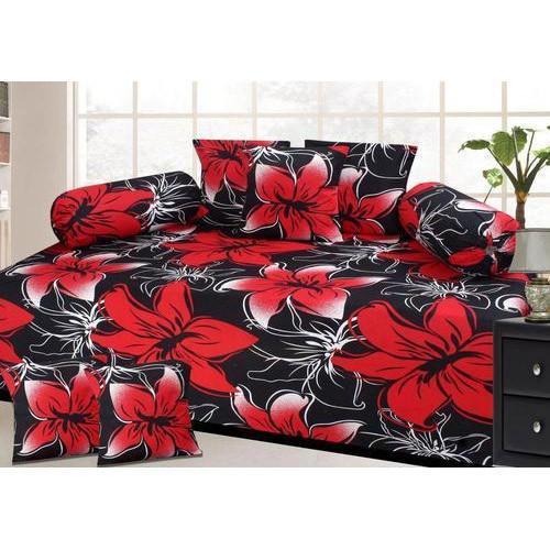 Floral Print Diwan Bed Sheet Set
